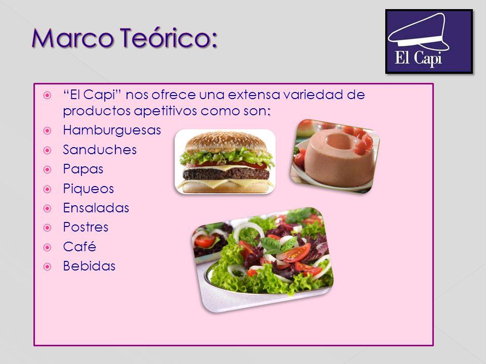 : El Capi nos ofrece una extensa variedad de productos apetitivos como son: Hamburguesas Sanduches Papas Piqueos Ensaladas Postres Café Bebidas