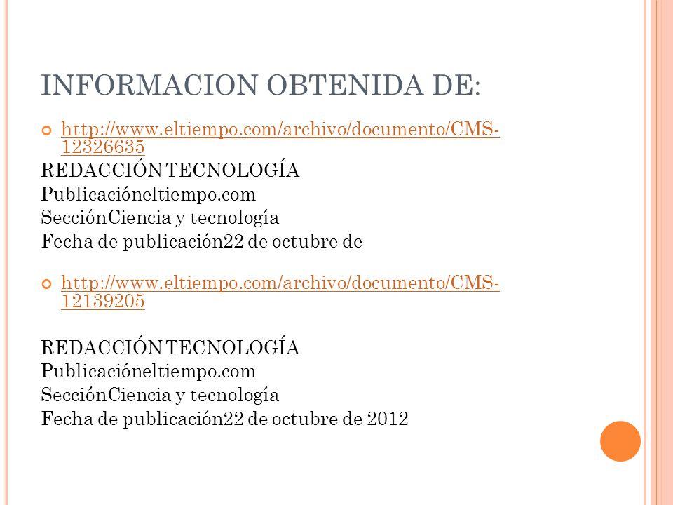 INFORMACION OBTENIDA DE: http://www.eltiempo.com/archivo/documento/CMS- 12326635 http://www.eltiempo.com/archivo/documento/CMS- 12326635 REDACCIÓN TEC