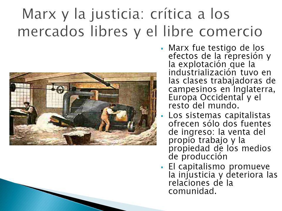 Marx fue testigo de los efectos de la represión y la explotación que la industrialización tuvo en las clases trabajadoras de campesinos en Inglaterra,