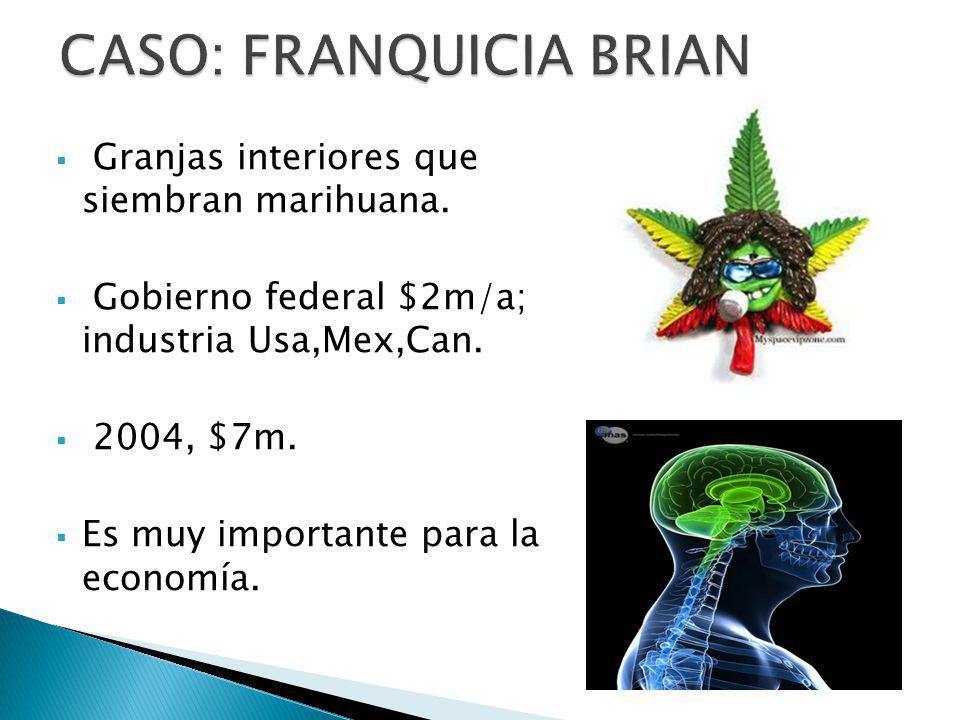 Granjas interiores que siembran marihuana. Gobierno federal $2m/a; industria Usa,Mex,Can. 2004, $7m. Es muy importante para la economía.