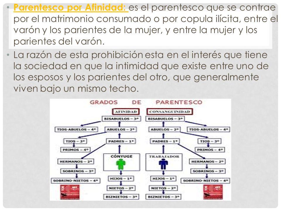 Parentesco por Afinidad: es el parentesco que se contrae por el matrimonio consumado o por copula ilícita, entre el varón y los parientes de la mujer,