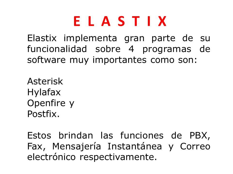 Elastix implementa gran parte de su funcionalidad sobre 4 programas de software muy importantes como son: Asterisk Hylafax Openfire y Postfix.