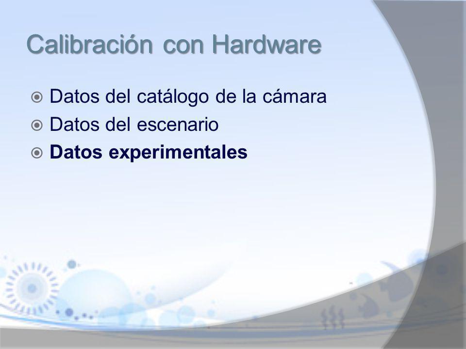 Datos del catálogo de la cámara Datos del escenario Datos experimentales Calibración con Hardware