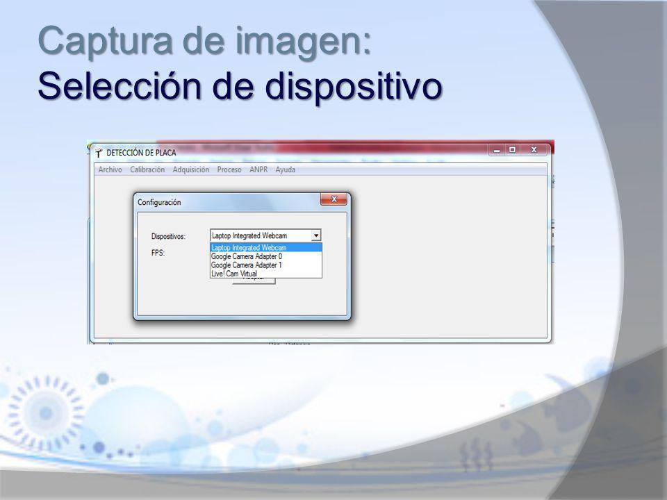 Captura de imagen: Selección de dispositivo