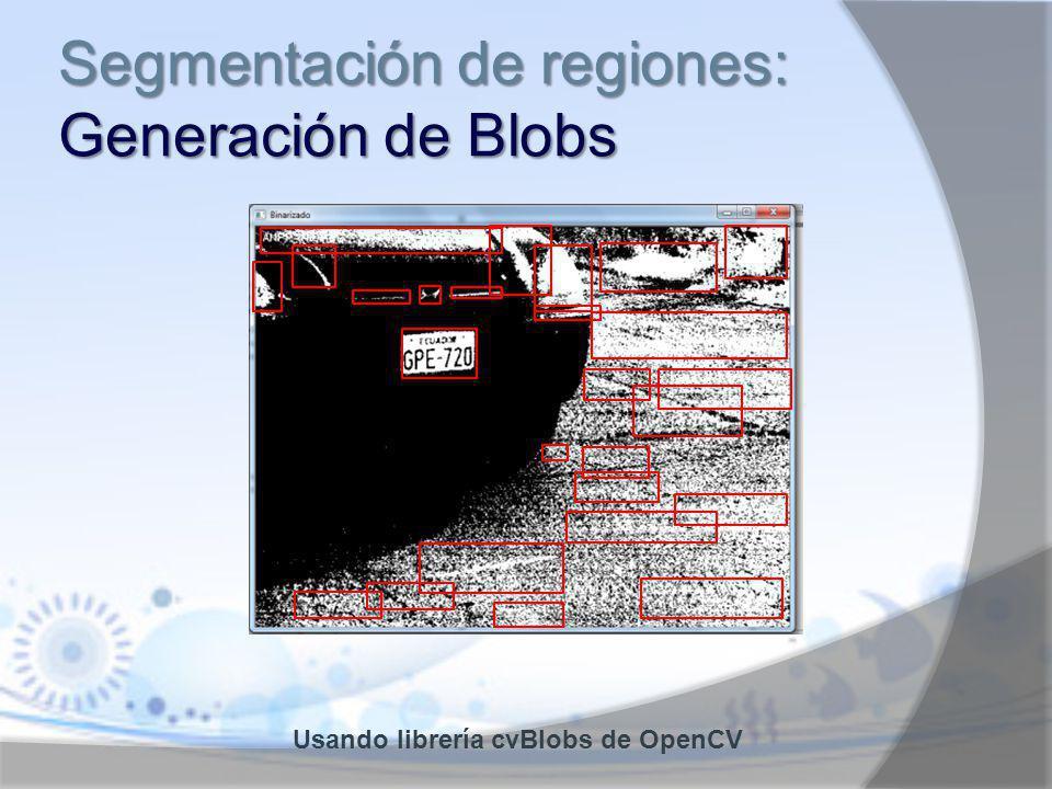 Segmentación de regiones: Generación de Blobs Usando librería cvBlobs de OpenCV