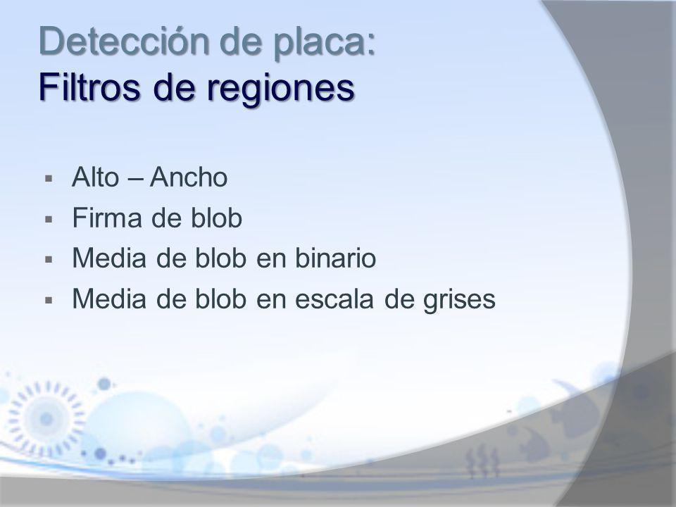 Detección de placa: Filtros de regiones Alto – Ancho Firma de blob Media de blob en binario Media de blob en escala de grises