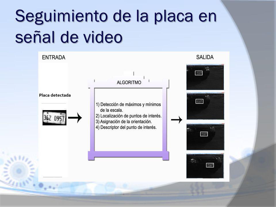 Seguimiento de la placa en señal de video