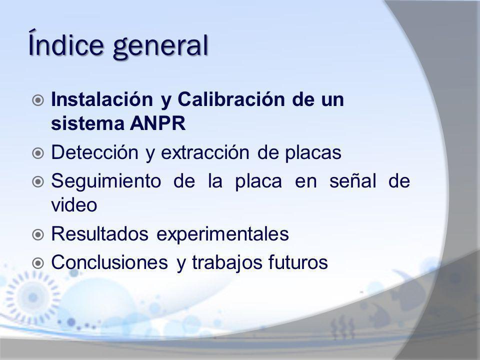 Conclusión Instalación y calibración Adquisición de la señal de video Detección y extracción de la placa