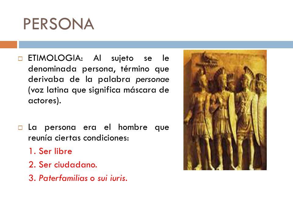 PERSONA ETIMOLOGIA: Al sujeto se le denominada persona, término que derivaba de la palabra personae (voz latina que significa máscara de actores).