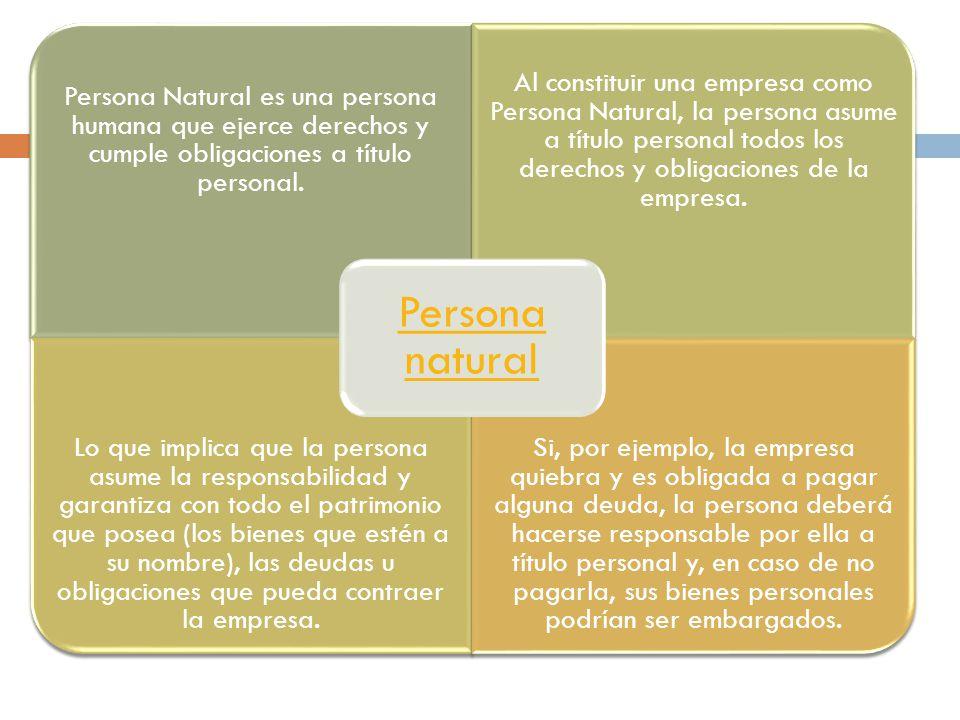 Persona Natural es una persona humana que ejerce derechos y cumple obligaciones a título personal.
