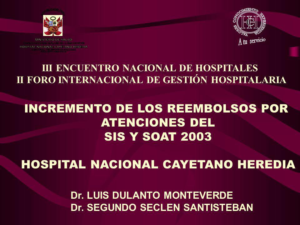 III ENCUENTRO NACIONAL DE HOSPITALES II FORO INTERNACIONAL DE GESTIÓN HOSPITALARIA INCREMENTO DE LOS REEMBOLSOS POR ATENCIONES DEL SIS Y SOAT 2003 HOS