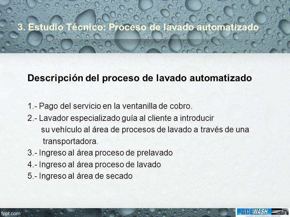 3. Estudio Técnico: Proceso de lavado automatizado Descripción del proceso de lavado automatizado 1.- Pago del servicio en la ventanilla de cobro. 2.-