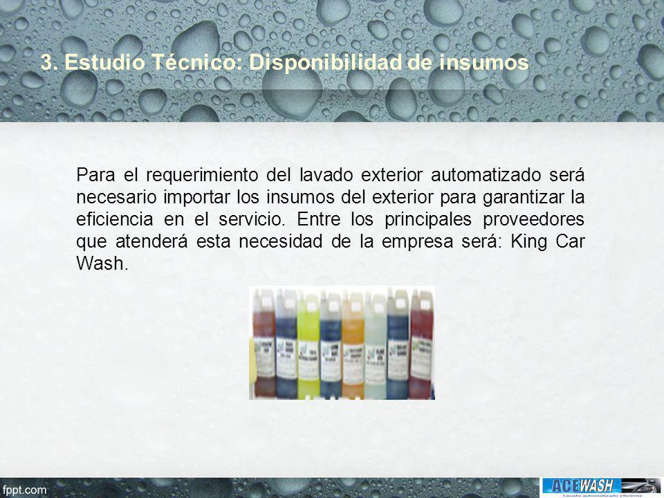 3. Estudio Técnico: Disponibilidad de insumos Para el requerimiento del lavado exterior automatizado será necesario importar los insumos del exterior