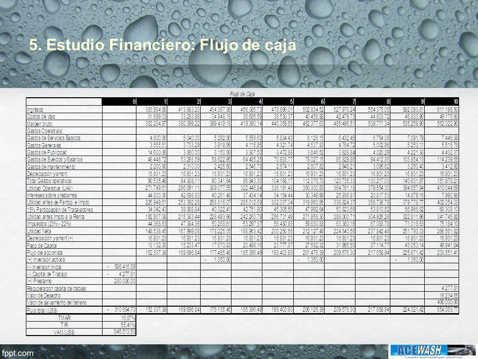 5. Estudio Financiero: Flujo de caja