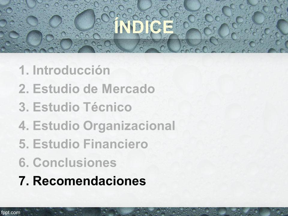 ÍNDICE 1. Introducción 2. Estudio de Mercado 3. Estudio Técnico 4. Estudio Organizacional 5. Estudio Financiero 6. Conclusiones 7. Recomendaciones