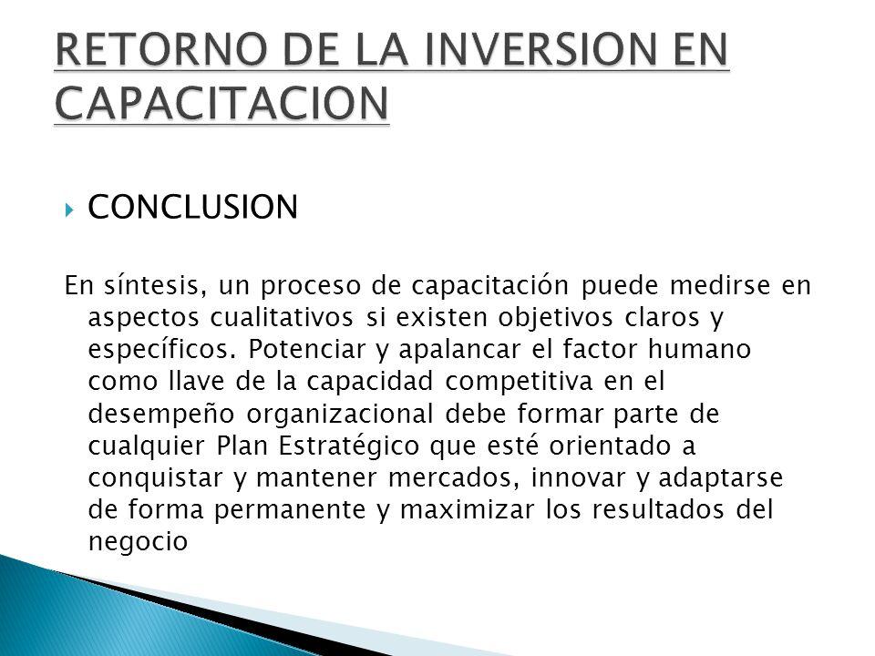 CONCLUSION En síntesis, un proceso de capacitación puede medirse en aspectos cualitativos si existen objetivos claros y específicos.