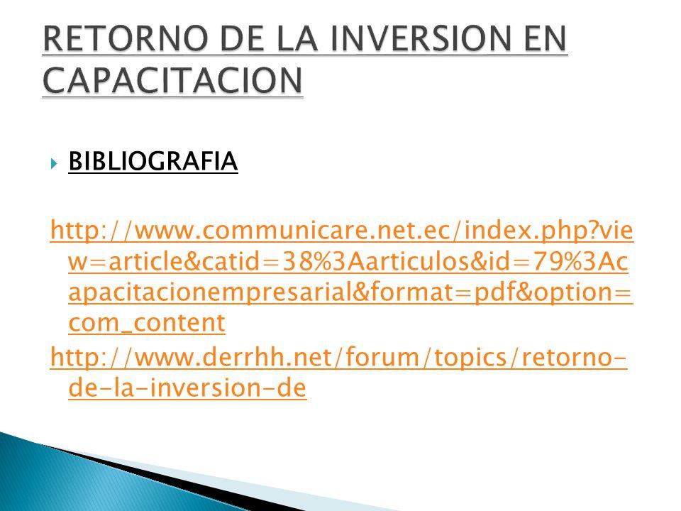 BIBLIOGRAFIA http://www.communicare.net.ec/index.php?vie w=article&catid=38%3Aarticulos&id=79%3Ac apacitacionempresarial&format=pdf&option= com_content http://www.derrhh.net/forum/topics/retorno- de-la-inversion-de