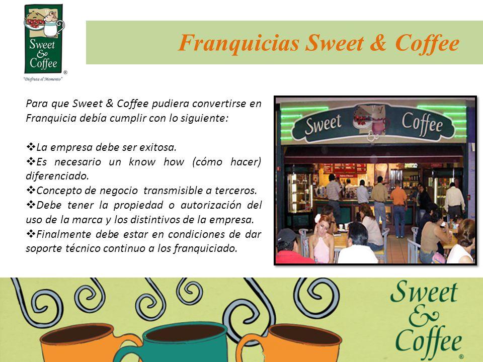 Franquicias Sweet & Coffee Para que Sweet & Coffee pudiera convertirse en Franquicia debía cumplir con lo siguiente: La empresa debe ser exitosa. Es n