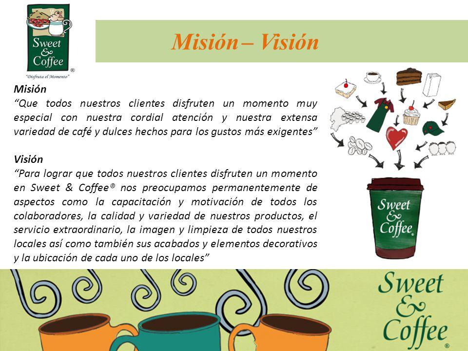 Slogan Disfruta el momento Cuenta con 49 locales (Julio 2012) a nivel nacional, distribuidos estratégicamente para que siempre haya un Sweet & Coffee al alcance de nuestros clientes.