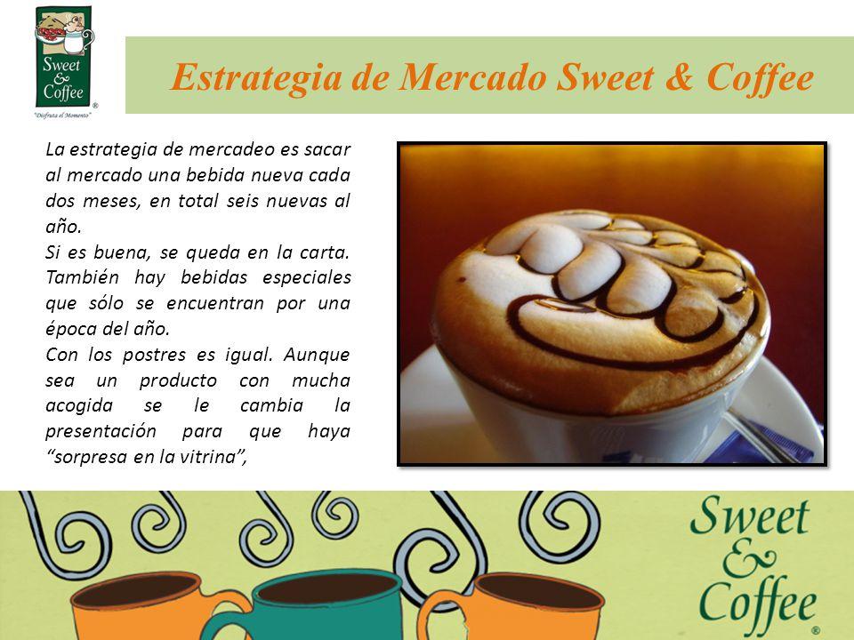 Estrategia de Mercado Sweet & Coffee La estrategia de mercadeo es sacar al mercado una bebida nueva cada dos meses, en total seis nuevas al año. Si es