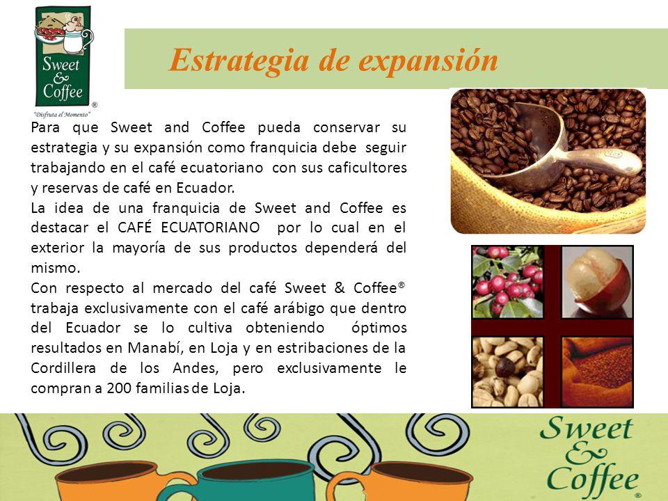 Estrategia de expansión Para que Sweet and Coffee pueda conservar su estrategia y su expansión como franquicia debe seguir trabajando en el café ecuat