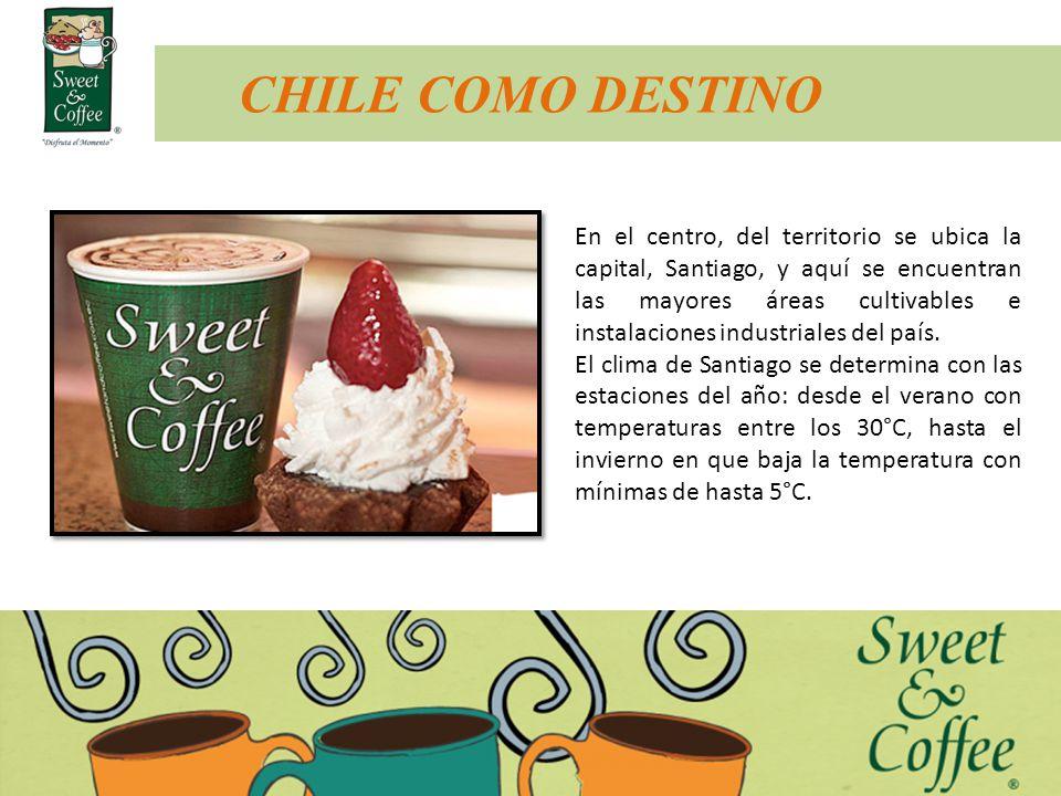 CHILE COMO DESTINO En el centro, del territorio se ubica la capital, Santiago, y aquí se encuentran las mayores áreas cultivables e instalaciones indu