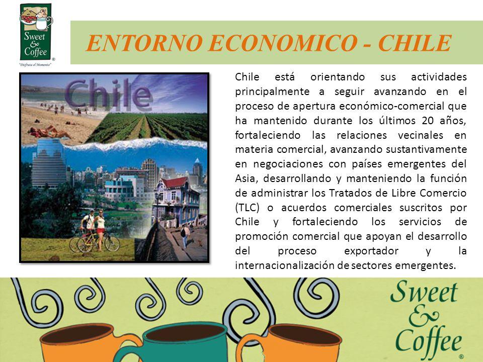ENTORNO ECONOMICO - CHILE Chile está orientando sus actividades principalmente a seguir avanzando en el proceso de apertura económico-comercial que ha