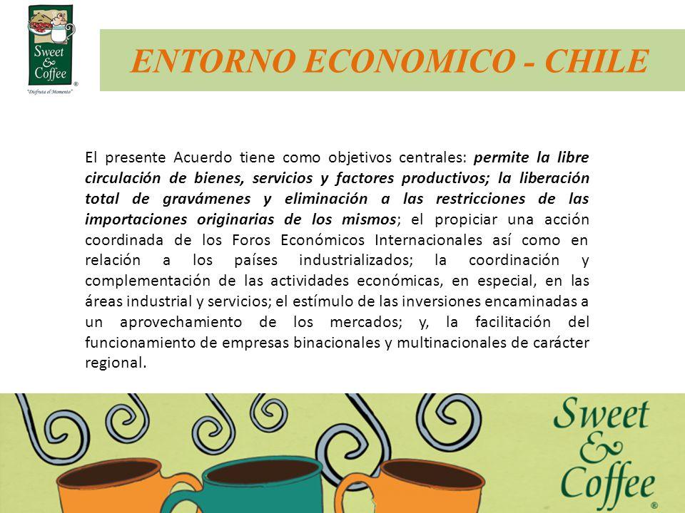 ENTORNO ECONOMICO - CHILE El presente Acuerdo tiene como objetivos centrales: permite la libre circulación de bienes, servicios y factores productivos