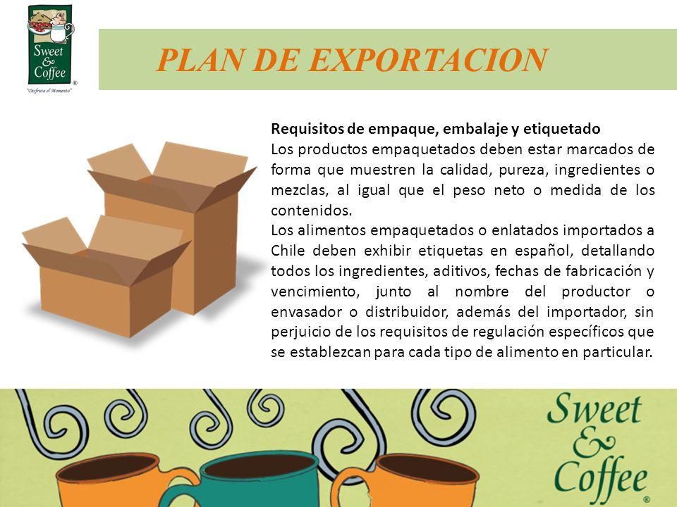 Requisitos de empaque, embalaje y etiquetado Los productos empaquetados deben estar marcados de forma que muestren la calidad, pureza, ingredientes o