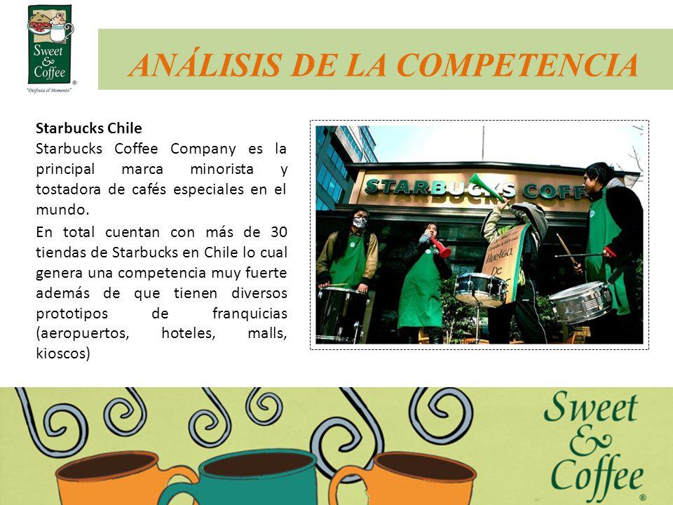 ANÁLISIS DE LA COMPETENCIA Starbucks Chile Starbucks Coffee Company es la principal marca minorista y tostadora de cafés especiales en el mundo. En to