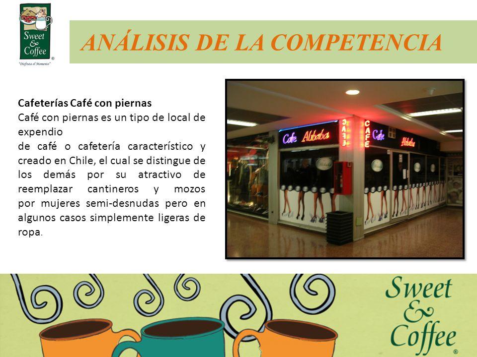 ANÁLISIS DE LA COMPETENCIA Cafeterías Café con piernas Café con piernas es un tipo de local de expendio de café o cafetería característico y creado en