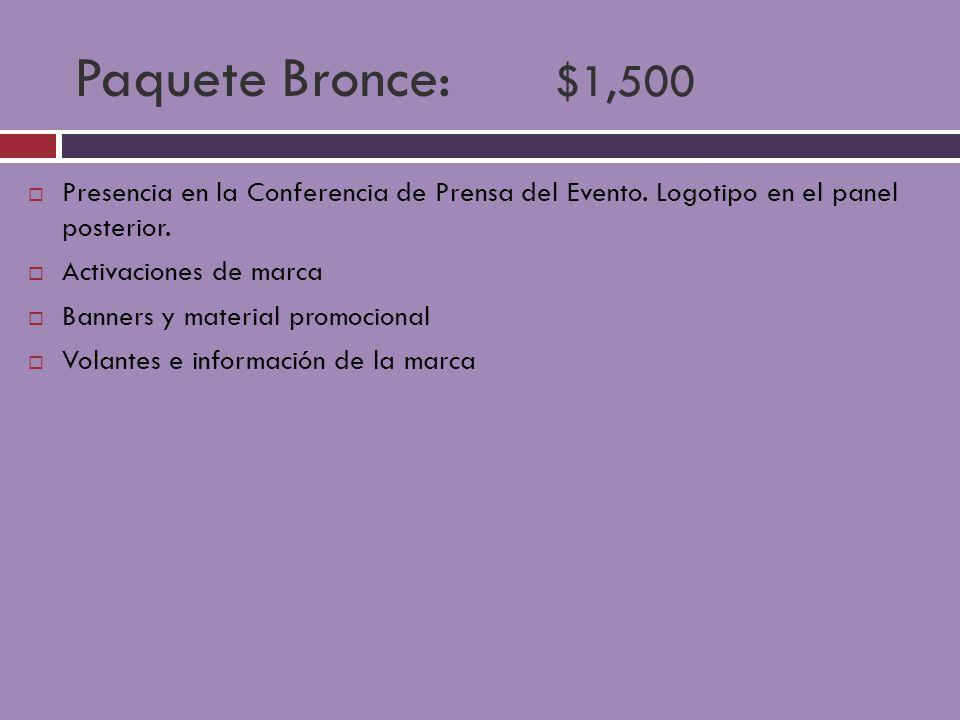 Paquete Bronce: $1,500 Presencia en la Conferencia de Prensa del Evento. Logotipo en el panel posterior. Activaciones de marca Banners y material prom