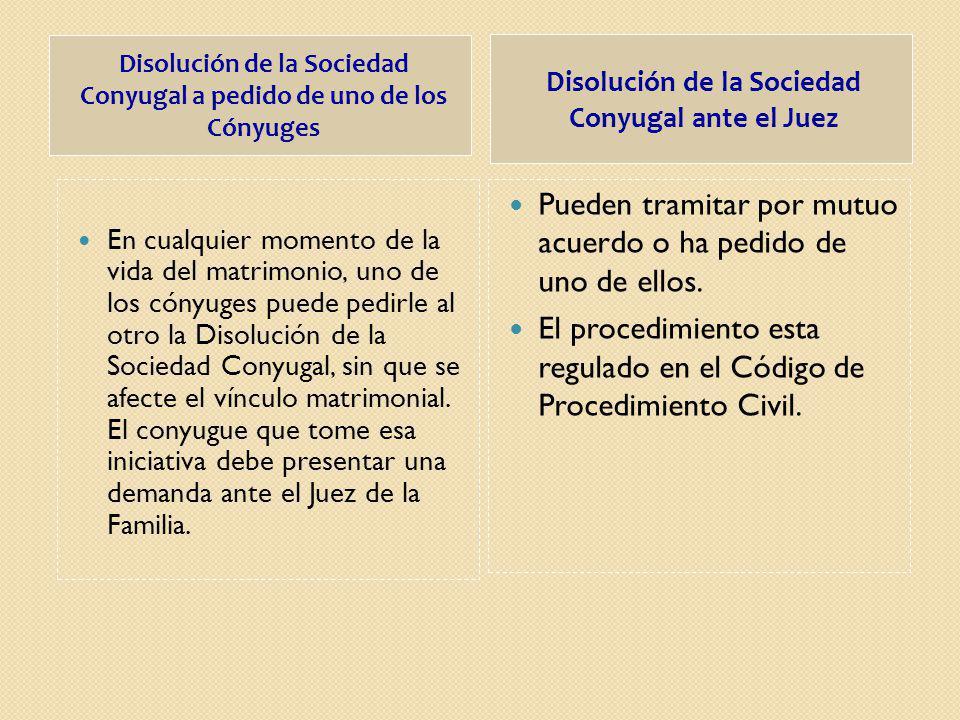 Disolución de la Sociedad Conyugal a pedido de uno de los Cónyuges Disolución de la Sociedad Conyugal ante el Juez En cualquier momento de la vida del