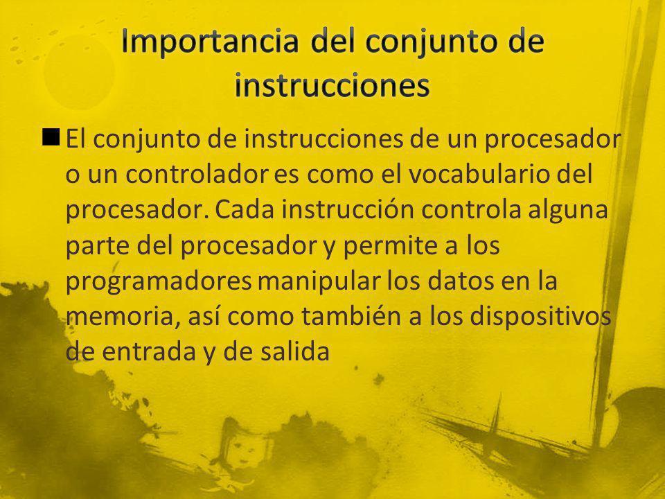 El conjunto de instrucciones de un procesador o un controlador es como el vocabulario del procesador. Cada instrucción controla alguna parte del proce