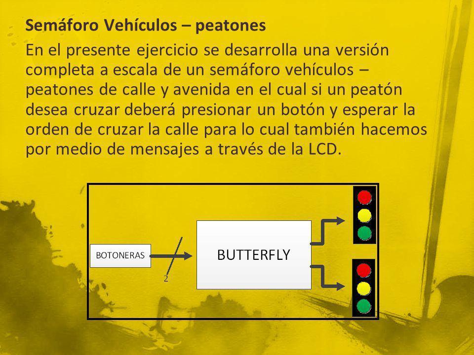 Semáforo Vehículos – peatones En el presente ejercicio se desarrolla una versión completa a escala de un semáforo vehículos – peatones de calle y aven