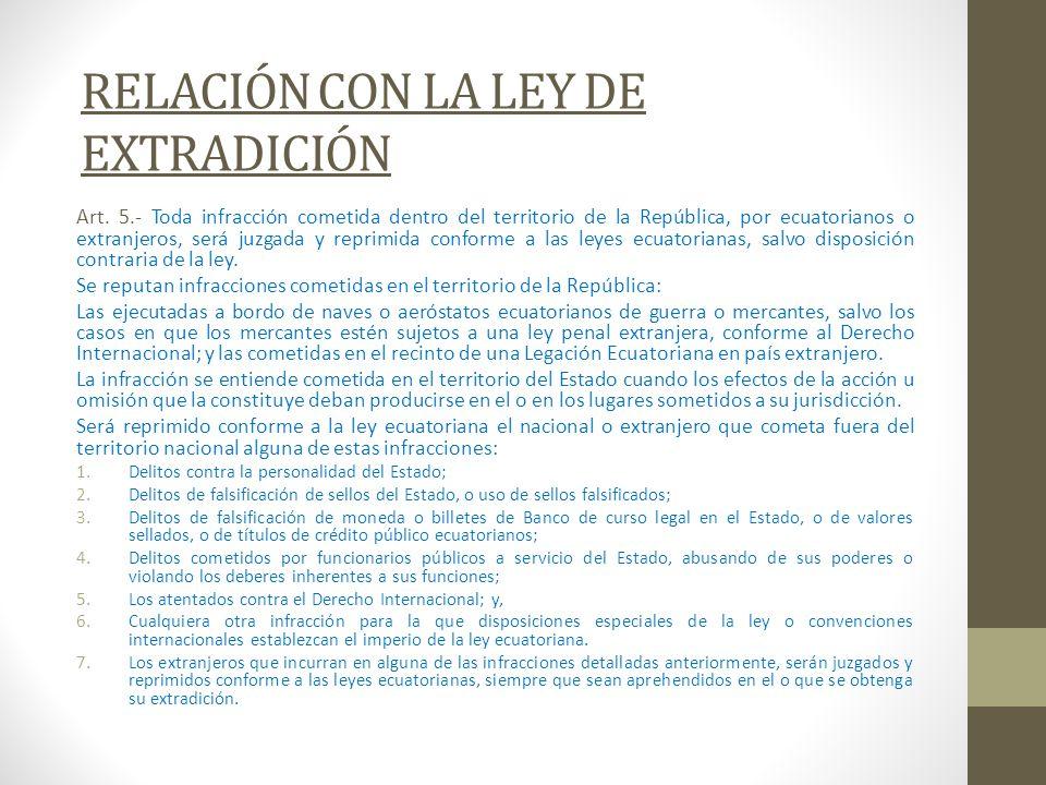 RELACIÓN CON LA LEY DE EXTRADICIÓN Art. 5.- Toda infracción cometida dentro del territorio de la República, por ecuatorianos o extranjeros, será juzga