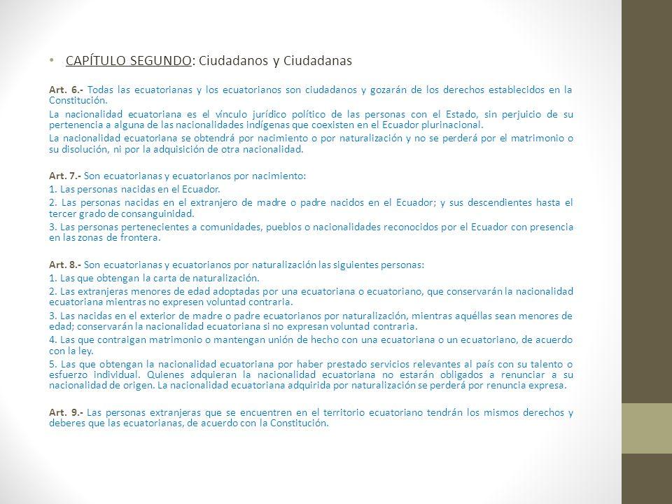 CAPÍTULO SEGUNDO: Ciudadanos y Ciudadanas Art. 6.- Todas las ecuatorianas y los ecuatorianos son ciudadanos y gozarán de los derechos establecidos en