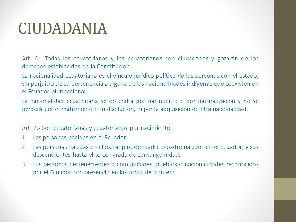 CIUDADANIA Art. 6.- Todas las ecuatorianas y los ecuatorianos son ciudadanos y gozarán de los derechos establecidos en la Constitución. La nacionalida