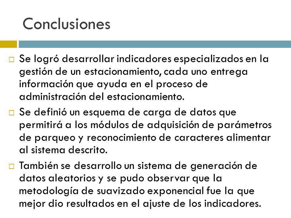 Conclusiones Se logró desarrollar indicadores especializados en la gestión de un estacionamiento, cada uno entrega información que ayuda en el proceso