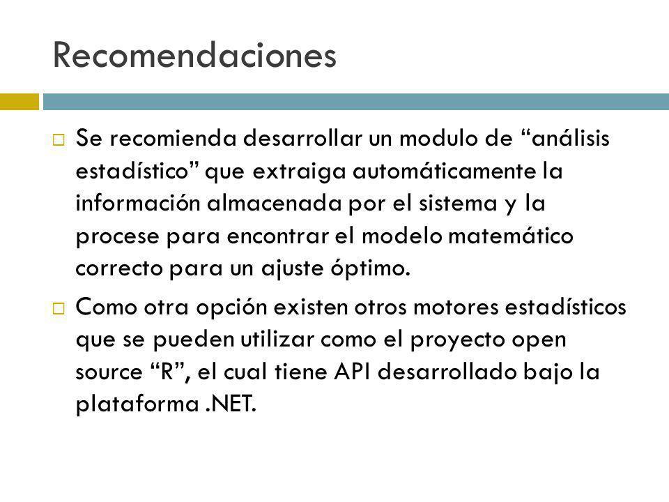 Recomendaciones Se recomienda desarrollar un modulo de análisis estadístico que extraiga automáticamente la información almacenada por el sistema y la