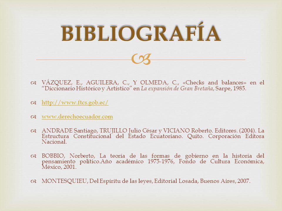 VÁZQUEZ, E., AGUILERA, C., Y OLMEDA, C., «Checks and balances» en el Diccionario Histórico y Artístico en La expansión de Gran Bretaña, Sarpe, 1985.
