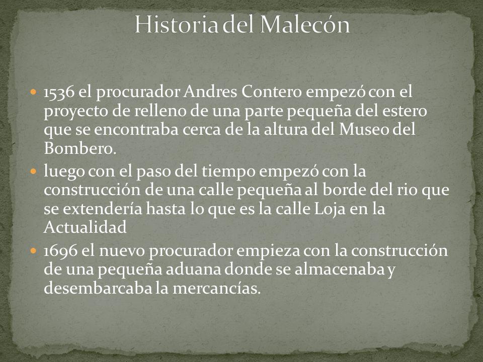 1536 el procurador Andres Contero empezó con el proyecto de relleno de una parte pequeña del estero que se encontraba cerca de la altura del Museo del