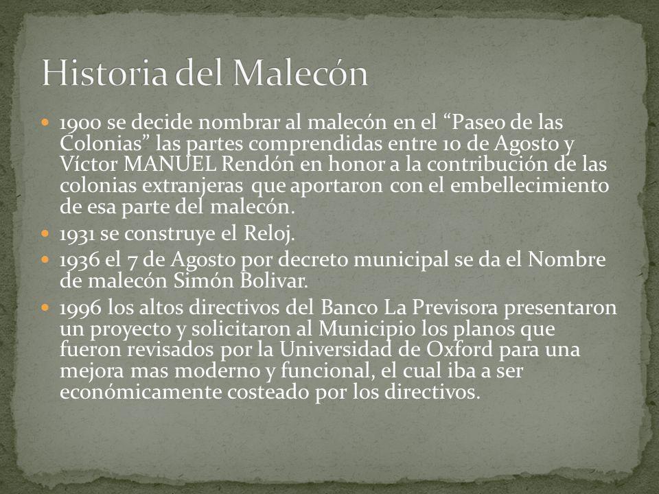 1900 se decide nombrar al malecón en el Paseo de las Colonias las partes comprendidas entre 10 de Agosto y Víctor MANUEL Rendón en honor a la contribu