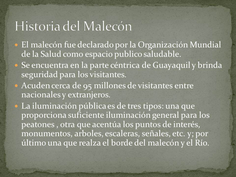 El malecón fue declarado por la Organización Mundial de la Salud como espacio publico saludable. Se encuentra en la parte céntrica de Guayaquil y brin