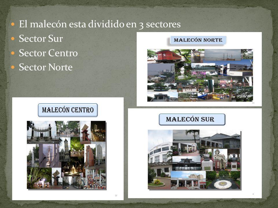 El malecón esta dividido en 3 sectores Sector Sur Sector Centro Sector Norte