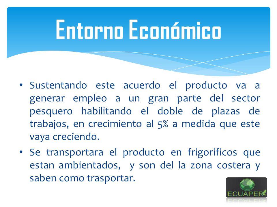 Entorno Económico Sustentando este acuerdo el producto va a generar empleo a un gran parte del sector pesquero habilitando el doble de plazas de traba