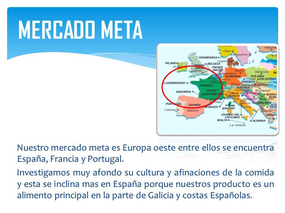 Nuestro mercado meta es Europa oeste entre ellos se encuentra España, Francia y Portugal. Investigamos muy afondo su cultura y afinaciones de la comid