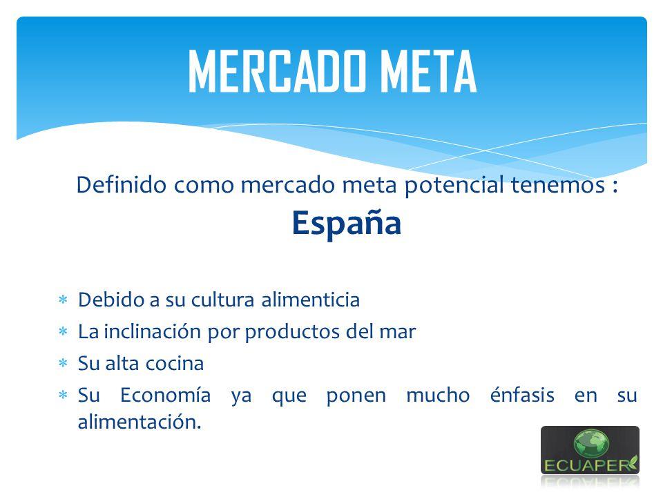 Definido como mercado meta potencial tenemos : España Debido a su cultura alimenticia La inclinación por productos del mar Su alta cocina Su Economía