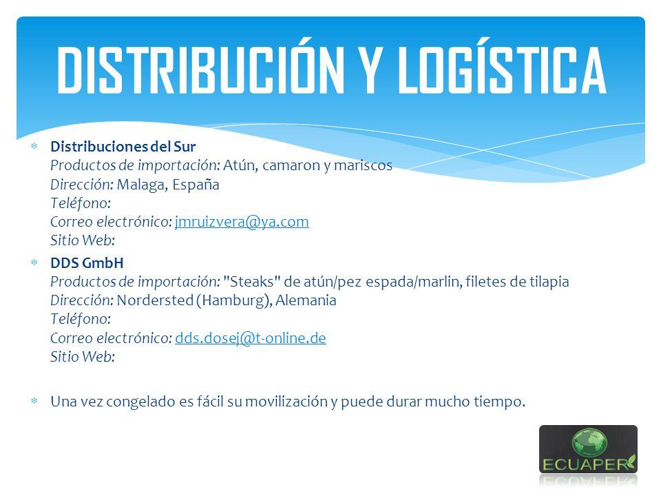DISTRIBUCIÓN Y LOGÍSTICA Distribuciones del Sur Productos de importación: Atún, camaron y mariscos Dirección: Malaga, España Teléfono: Correo electrón