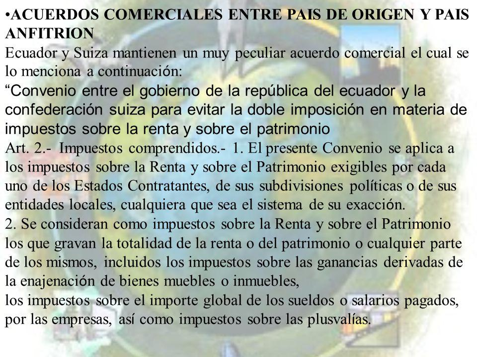 ACUERDOS COMERCIALES ENTRE PAIS DE ORIGEN Y PAIS ANFITRION Ecuador y Suiza mantienen un muy peculiar acuerdo comercial el cual se lo menciona a contin